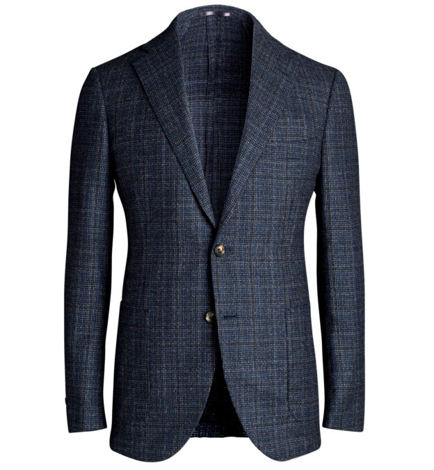 Bedford Navy and Charcoal Check Wool Jacket