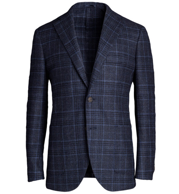 Bedford Blue Plaid Wool and Cashmere Jacket