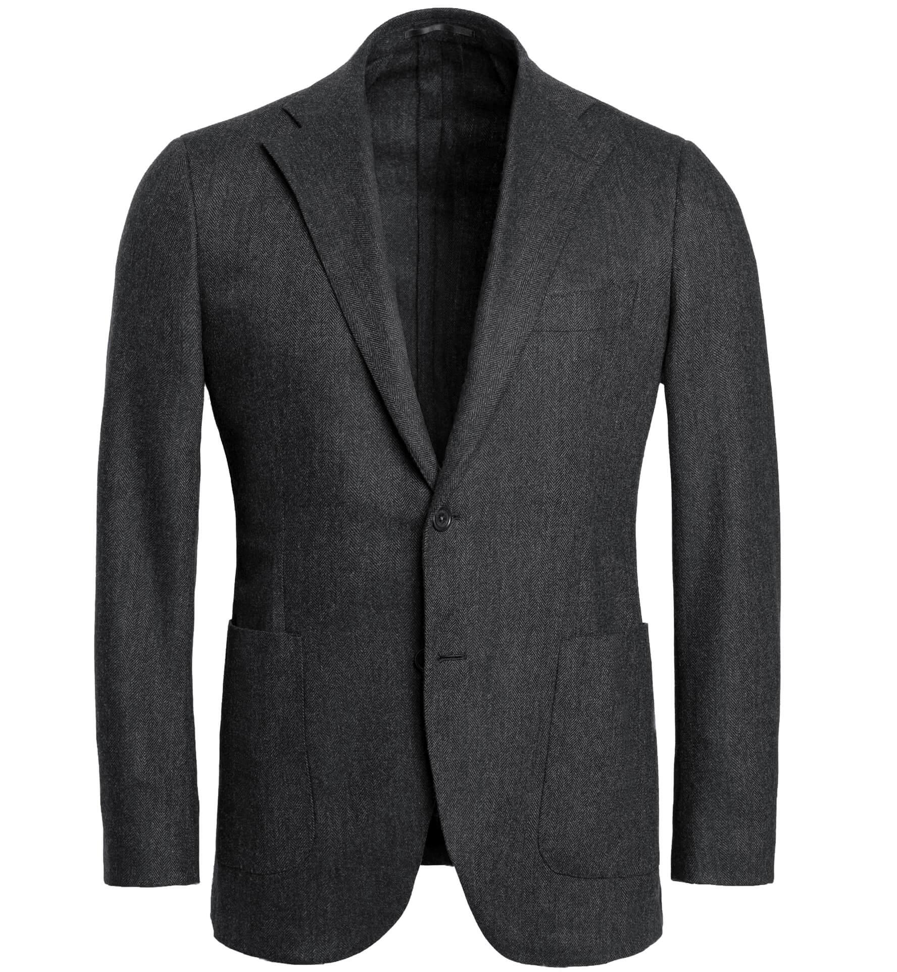 Zoom Image of Waverly Grey Herringbone Flannel Unstructured Jacket