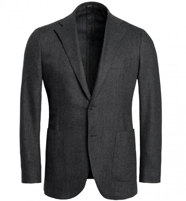 Waverly Grey Herringbone Flannel Unstructured Jacket