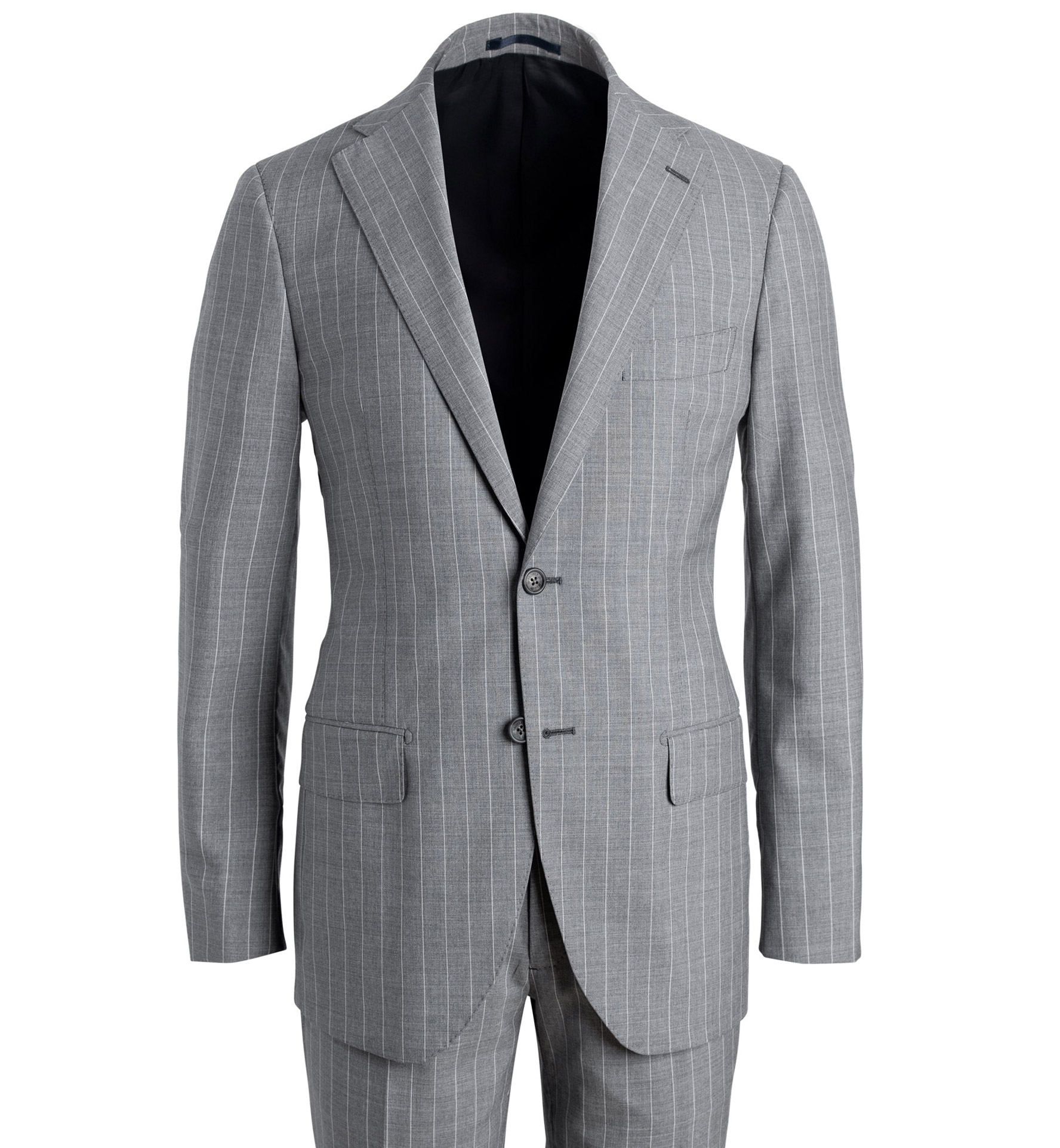 Zoom Image of Allen Light Grey S120s Pinstripe Tropical Wool Suit