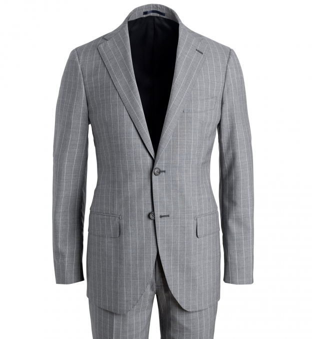 Allen Light Grey S120s Pinstripe Tropical Wool Suit