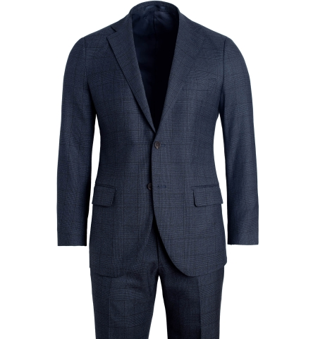 7cb0621ebf6f Allen Slate Glen Plaid S130s Wool Suit with Cuffed Trouser - Custom Fit  Tailored Clothing
