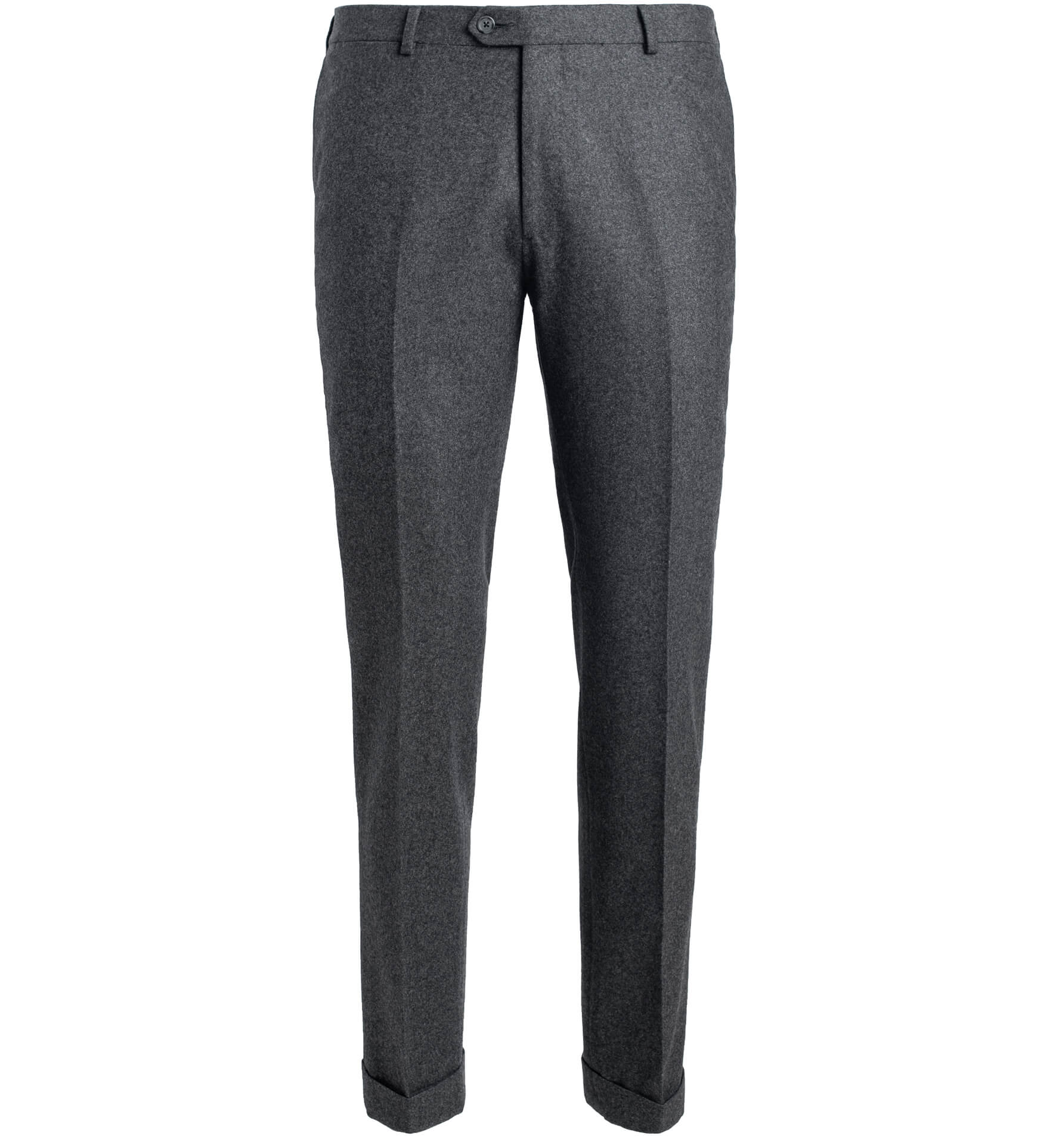 Zoom Image of Allen Grey Wool Flannel Cuffed Trouser