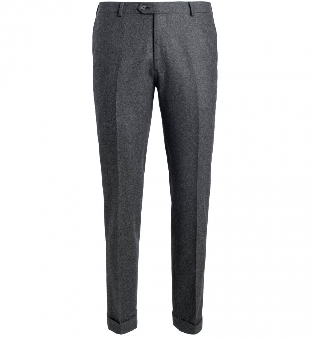Allen Grey Wool Flannel Cuffed Trouser