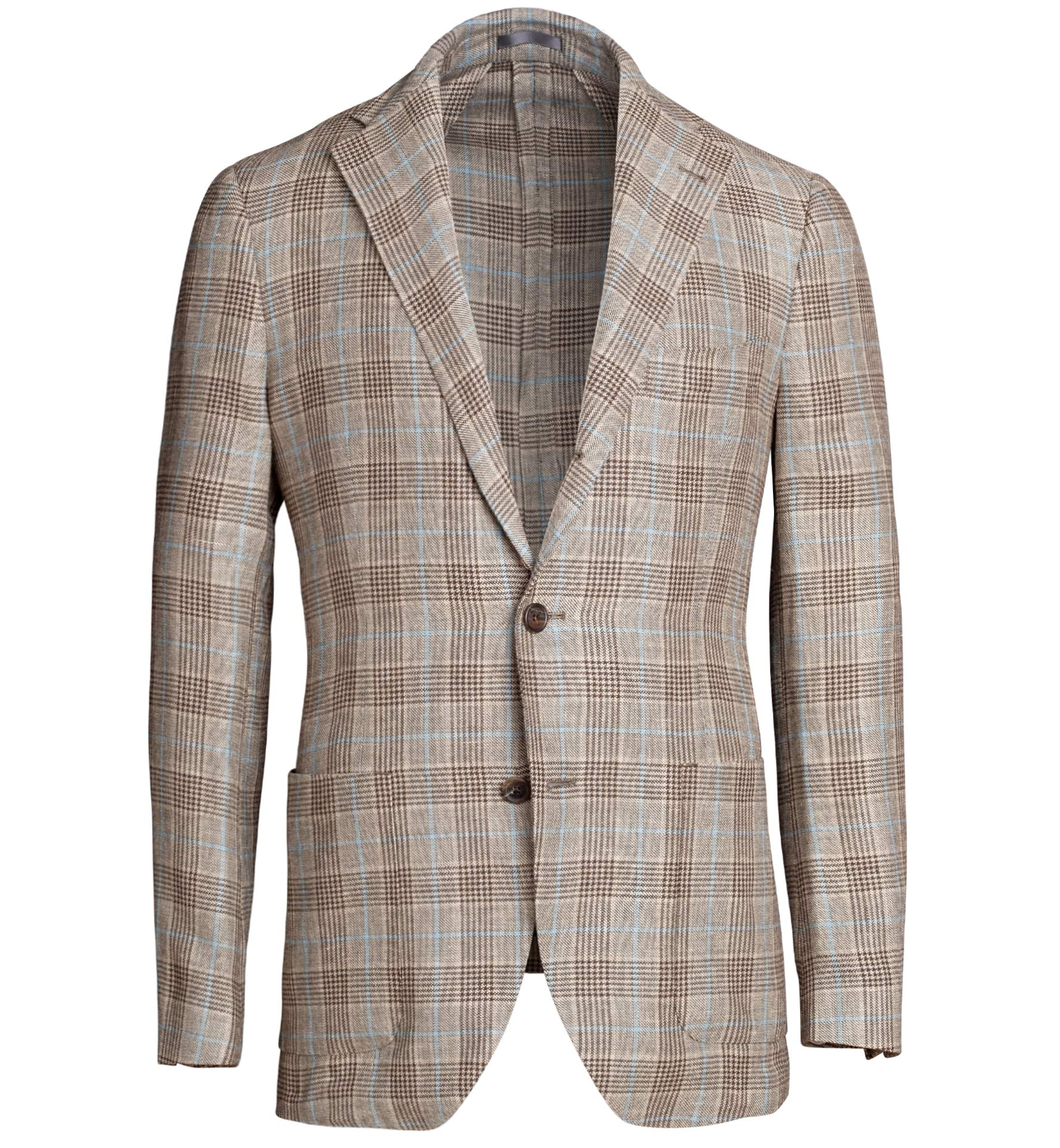 Zoom Image of Bedford Beige Prince of Wales Linen and Wool Jacket