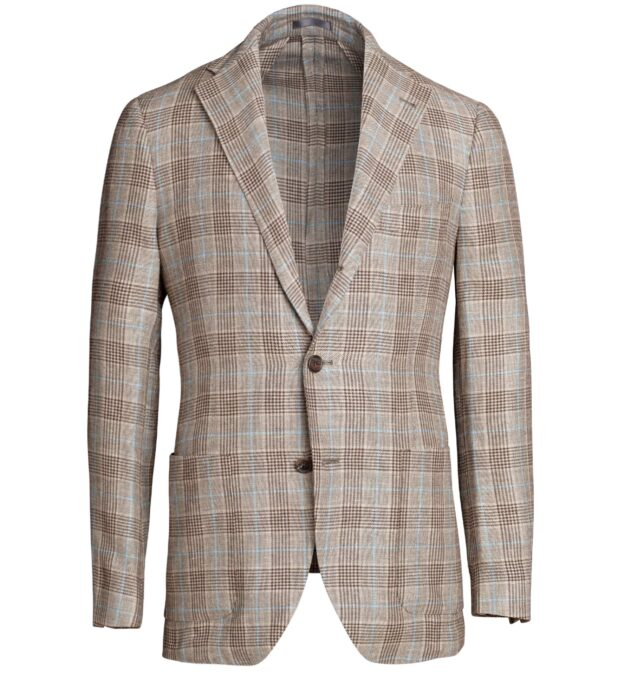 Bedford Beige Prince of Wales Linen and Wool Jacket