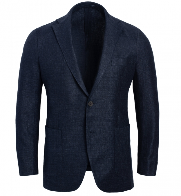 Bedford Navy Wool and Linen Twill Jacket