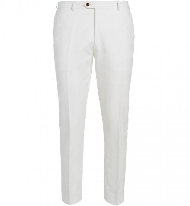 Allen White Cotton and Linen Canvas Trouser