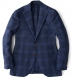 Zoom Thumb Image 8 of Hudson Navy and Blue Check Textured Wool Jacket