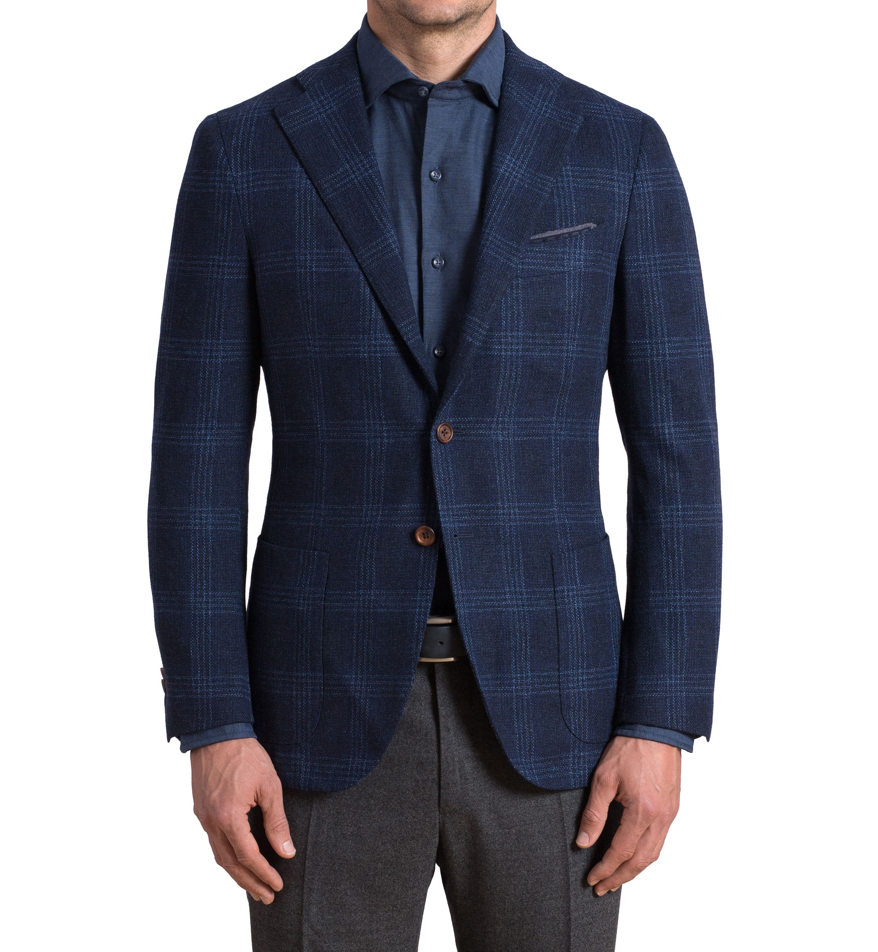 Zoom Image of Hudson Navy and Blue Check Textured Wool Jacket
