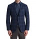 Zoom Thumb Image 1 of Hudson Navy and Blue Check Textured Wool Jacket