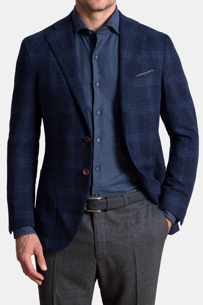 Hudson Navy and Blue Check Textured Wool Jacket