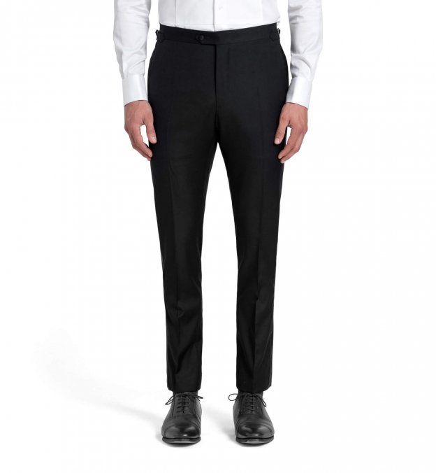 Mayfair Black Wool and Linen Tuxedo Trouser