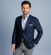 Zoom Thumb Image 3 of Bedford Navy Linen and Wool Hopsack Jacket