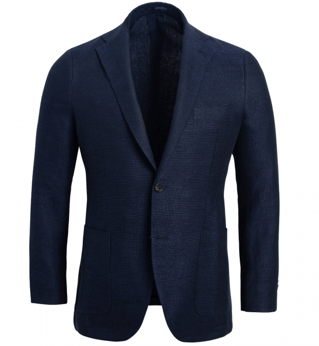 Bedford Navy Linen and Wool Hopsack Jacket