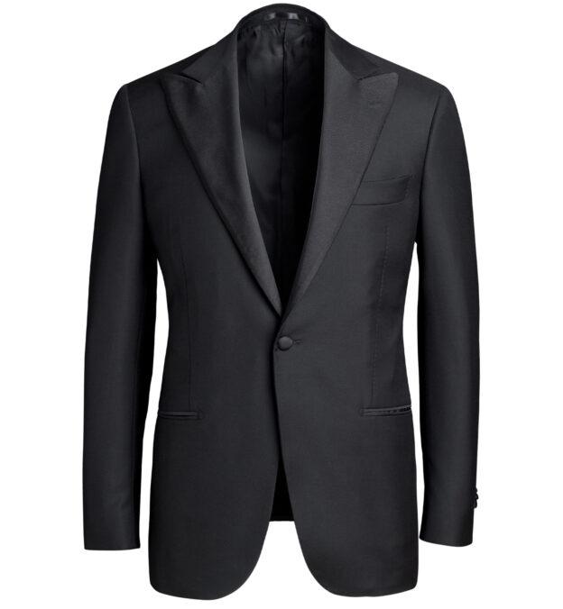 Mayfair Black Wool and Linen Tuxedo Jacket