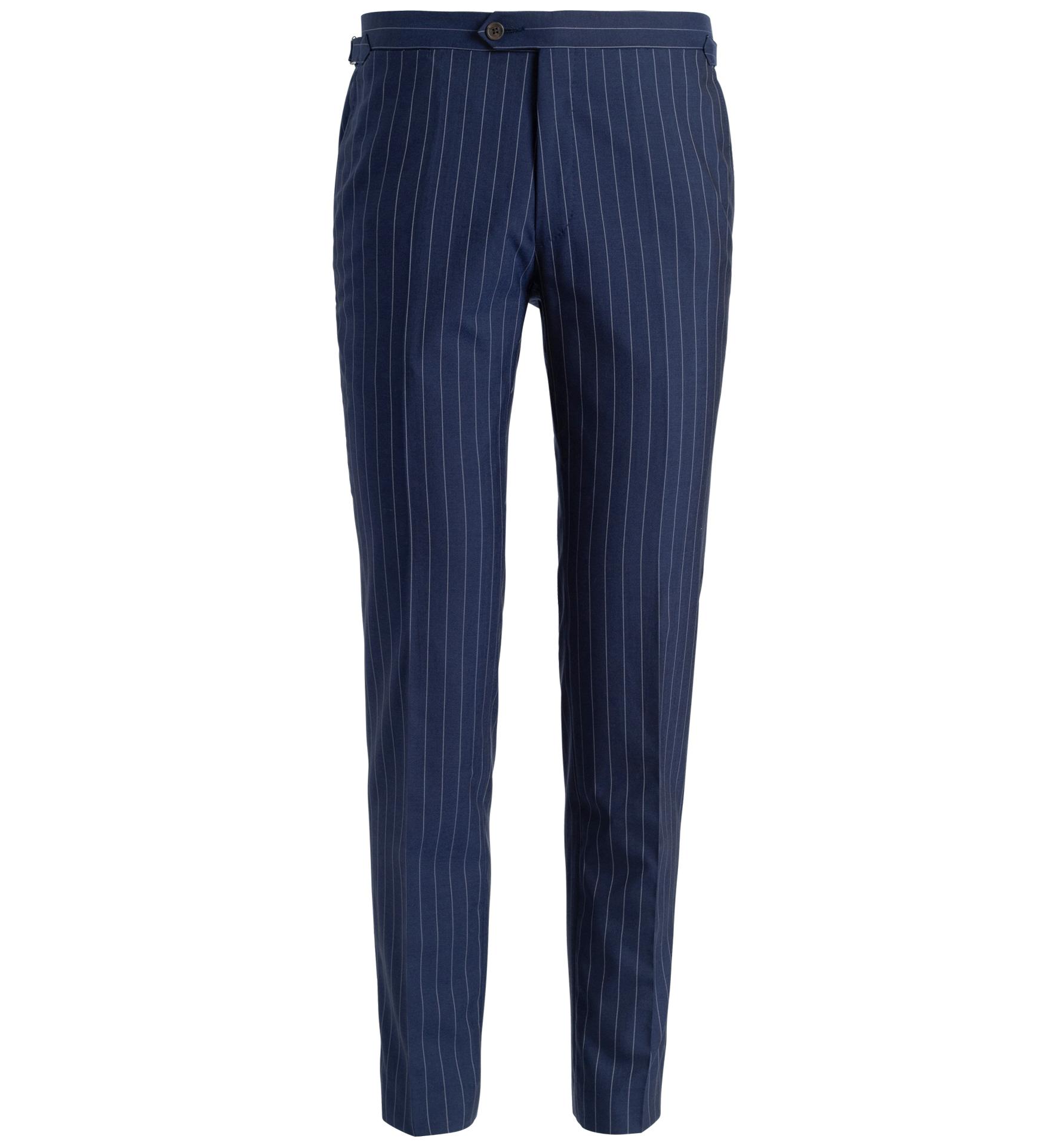Zoom Image of Allen Navy S130s Pinstripe Tropical Wool Trouser