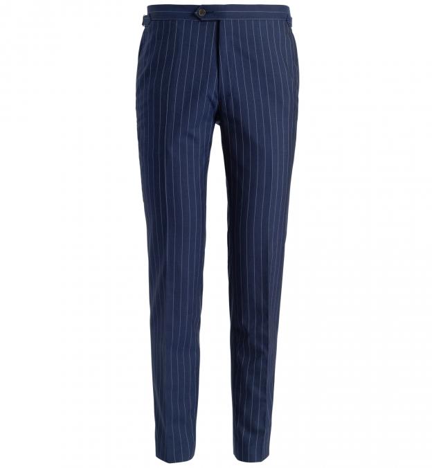 Allen Navy S130s Pinstripe Tropical Wool Trouser