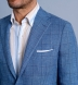 Zoom Thumb Image 4 of Bedford Light Blue Windowpane Linen and Wool Jacket