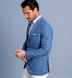 Zoom Thumb Image 2 of Bedford Light Blue Windowpane Linen and Wool Jacket
