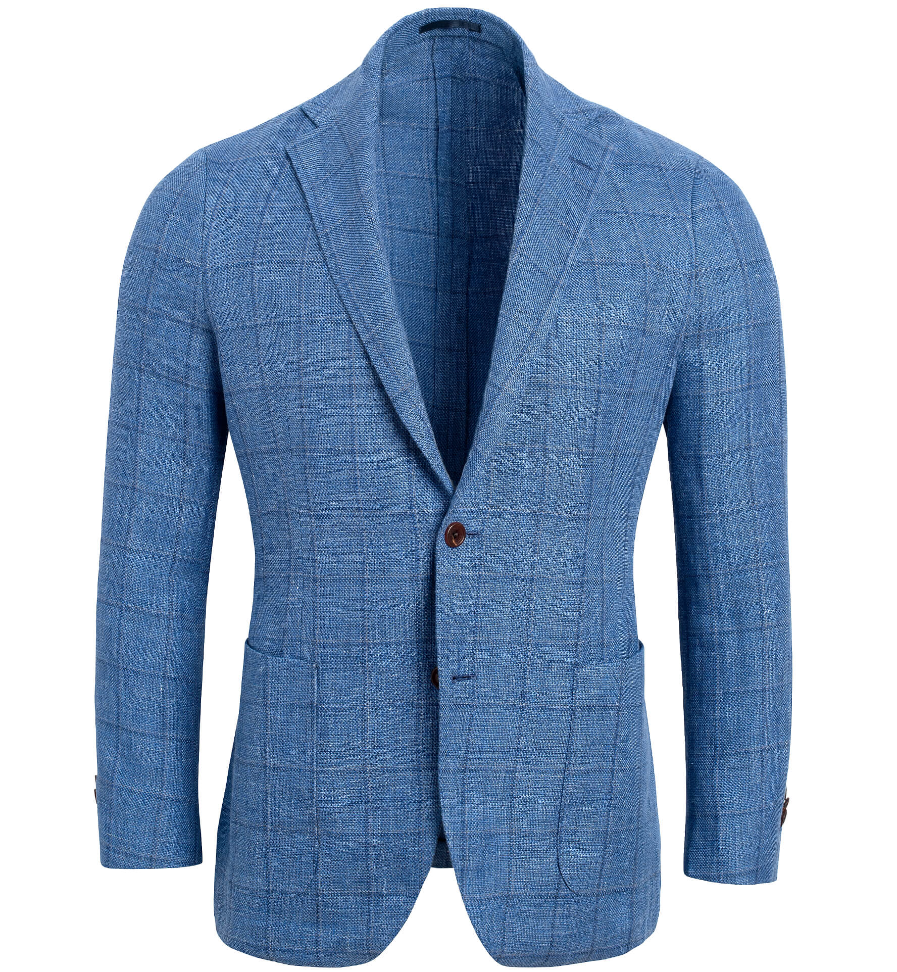 Zoom Image of Bedford Light Blue Windowpane Linen and Wool Jacket