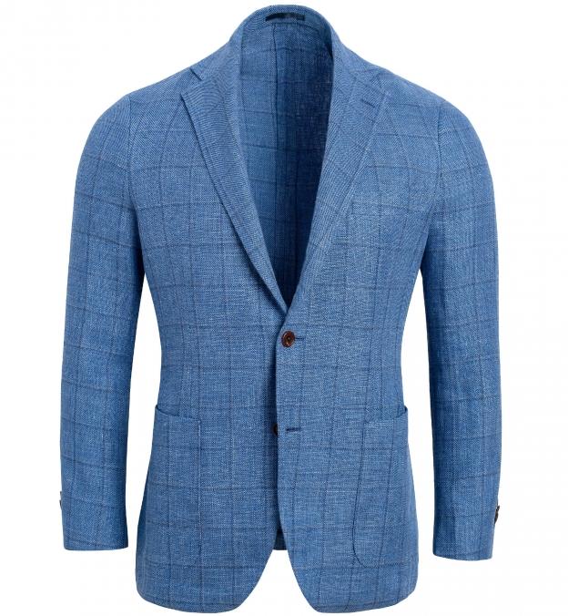 Bedford Light Blue Windowpane Linen and Wool Jacket