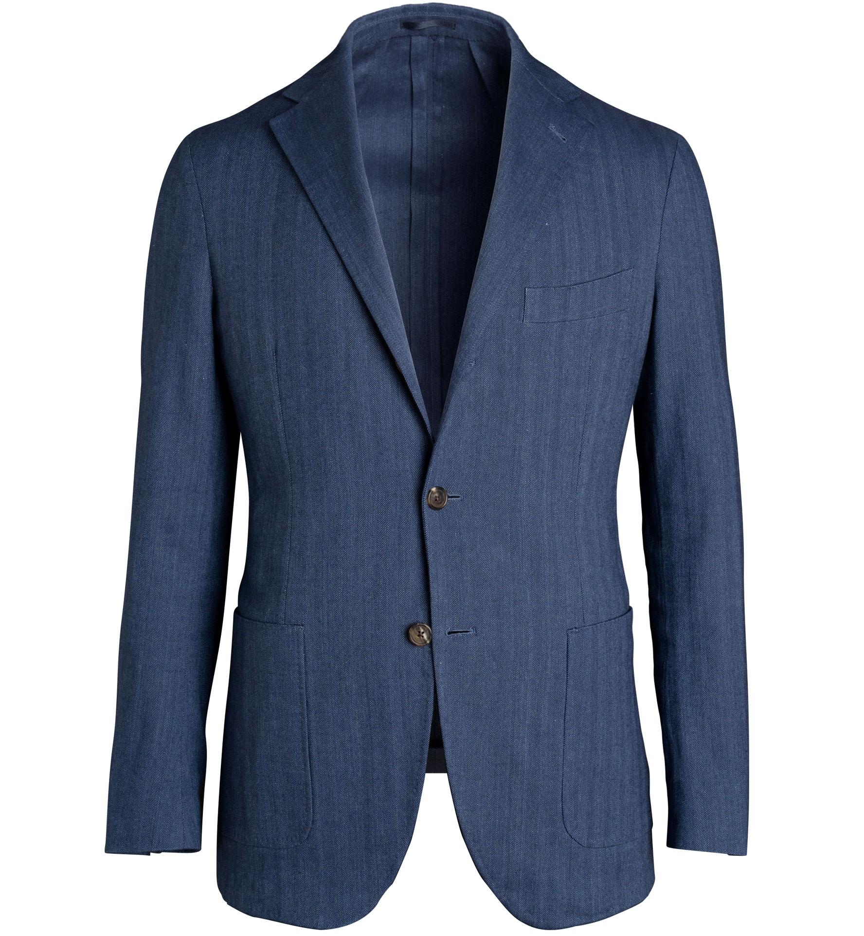 Zoom Image of Waverly Indigo Stretch Cotton and Linen Herringbone Jacket