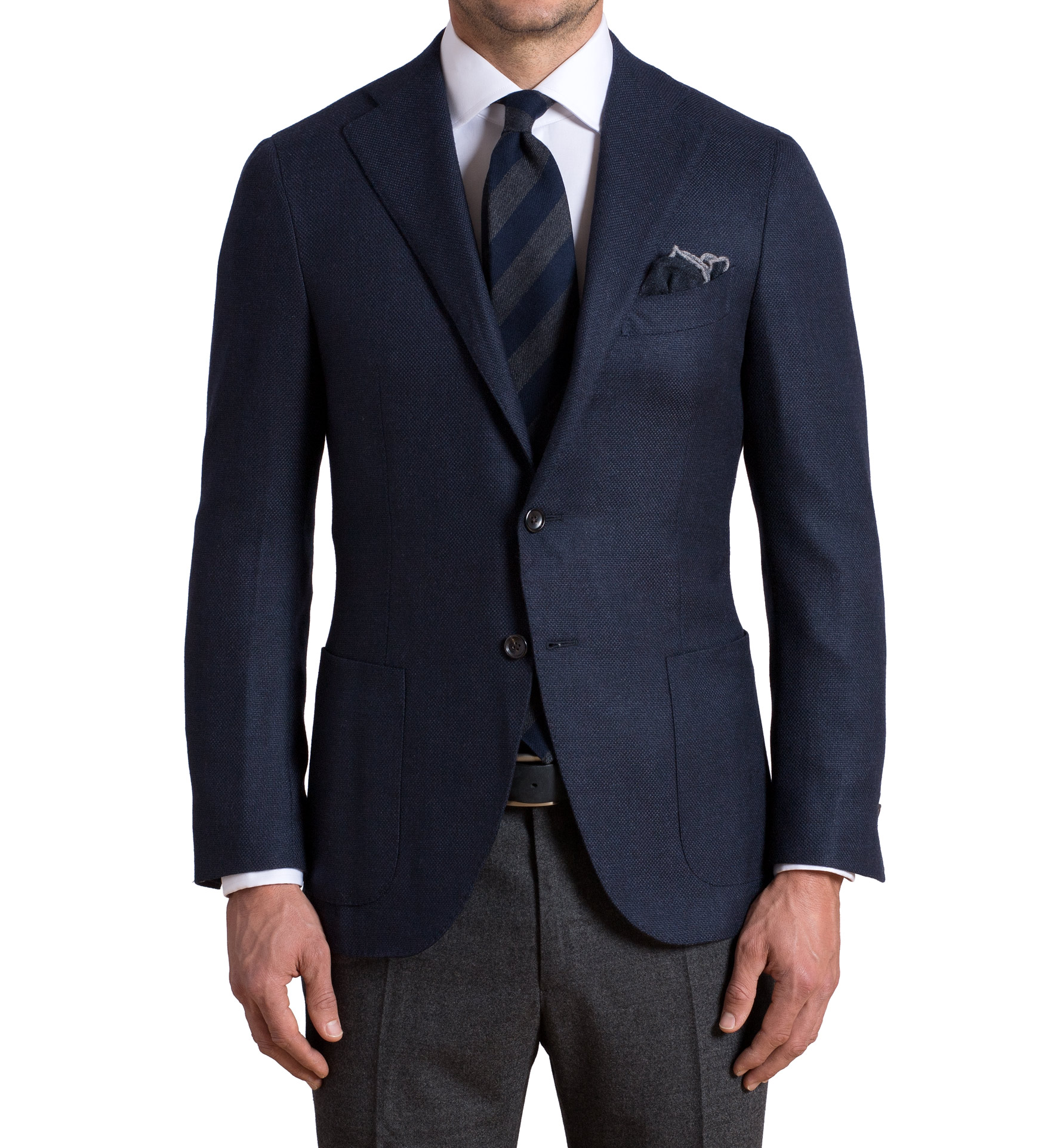 Zoom Image of Hudson Navy Wool and Cashmere Hopsack Jacket