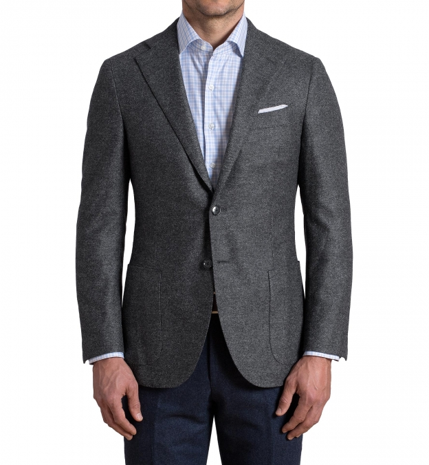 Hudson Grey Birdseye Wool Flannel Jacket