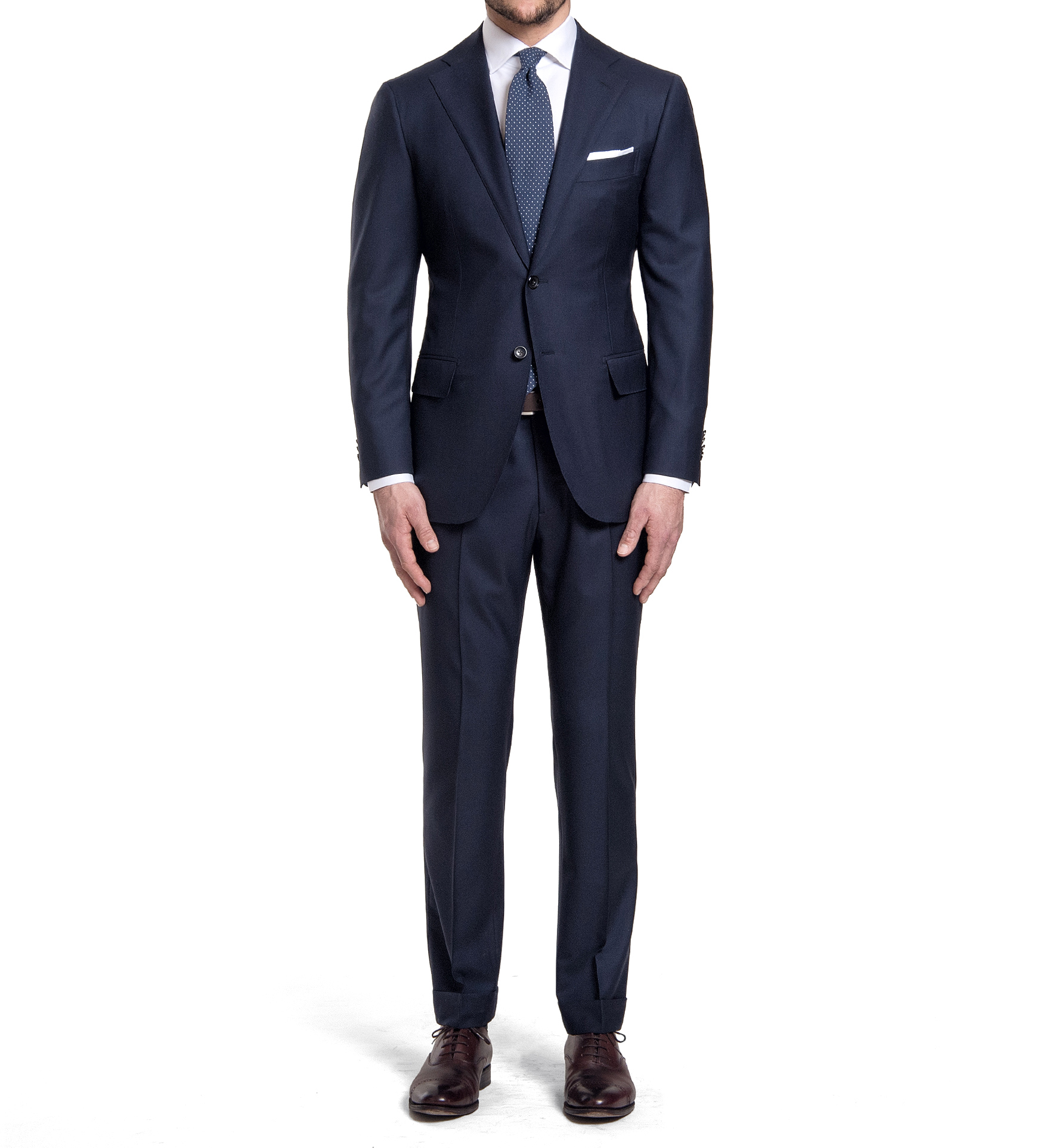 Zoom Image of Mercer Navy S150s Wool Suit with Cuffed Trouser