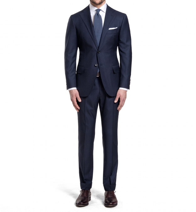 Mercer Navy S150s Wool Suit with Cuffed Trouser