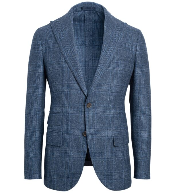 Bedford Blue Plaid Donegal Wool and Silk Jacket