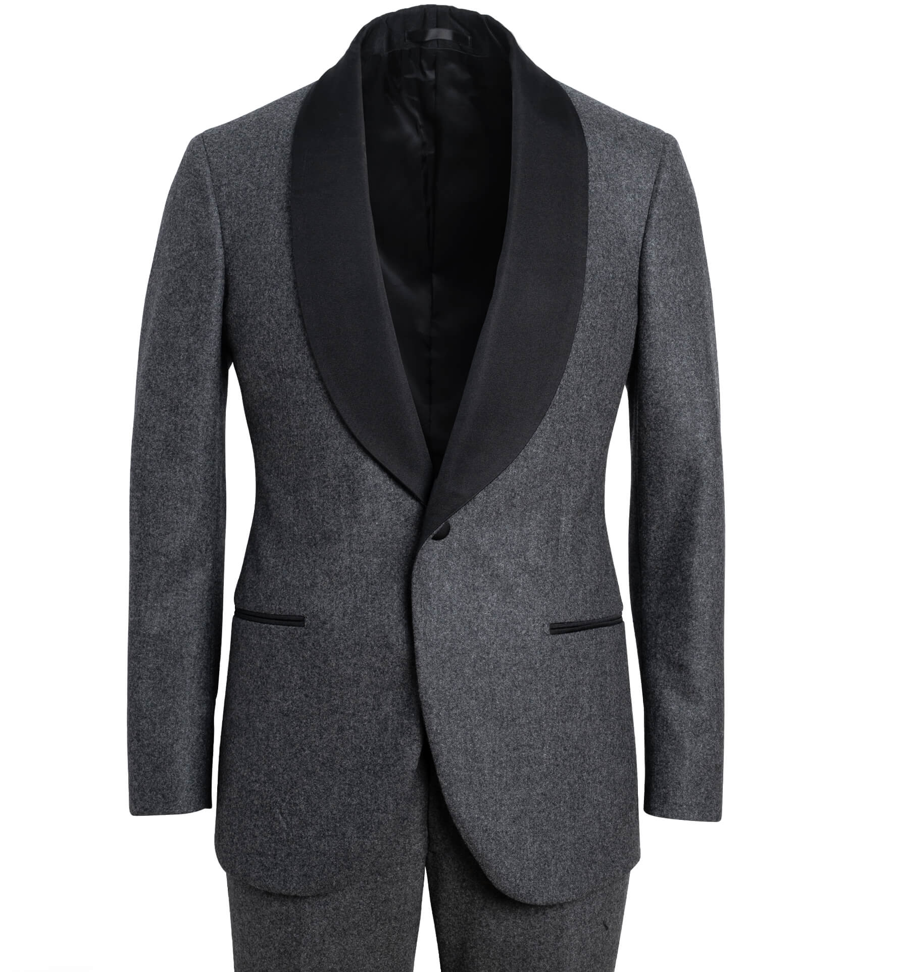 Zoom Image of Mayfair Grey Wool Flannel Shawl Tuxedo