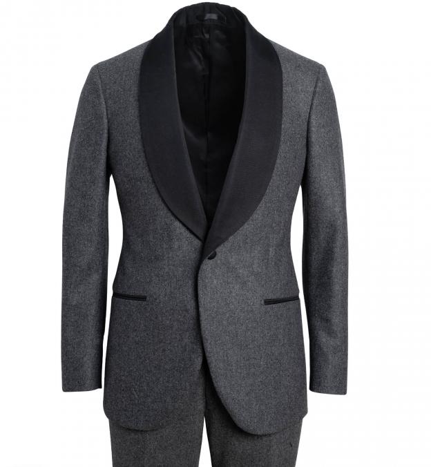 Mayfair Grey Wool Flannel Shawl Tuxedo