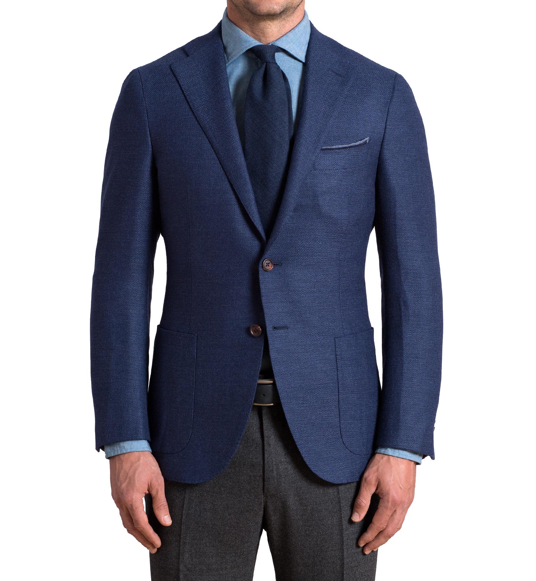 Zoom Image of Hudson Ocean Blue Wool Flannel Hopsack Jacket