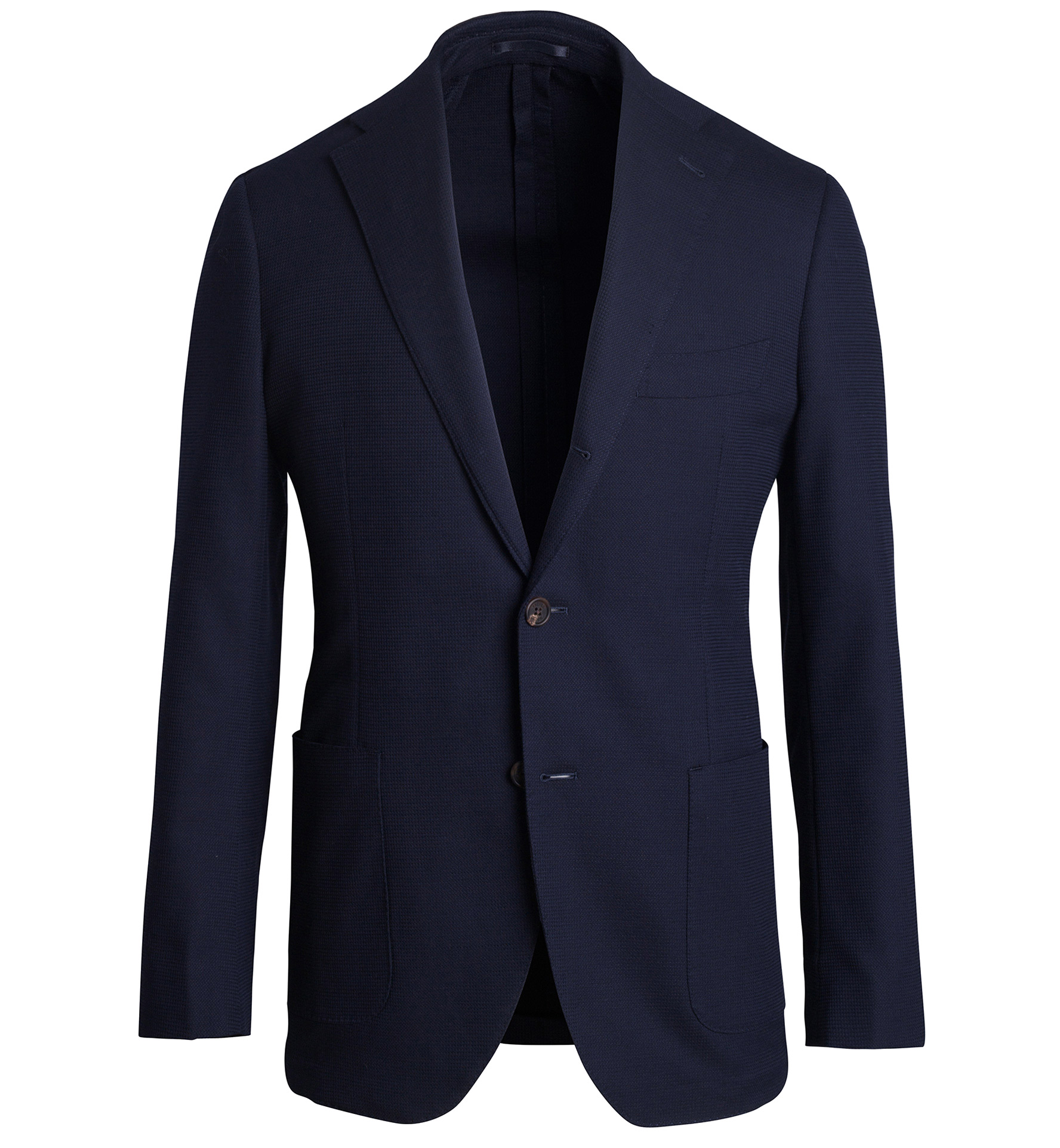 Zoom Image of Bedford Navy Stretch Wool and Cotton Hopsack Jacket