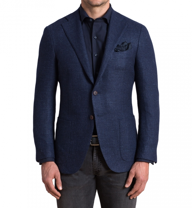 Hudson Navy Basketweave Wool Flannel Jacket
