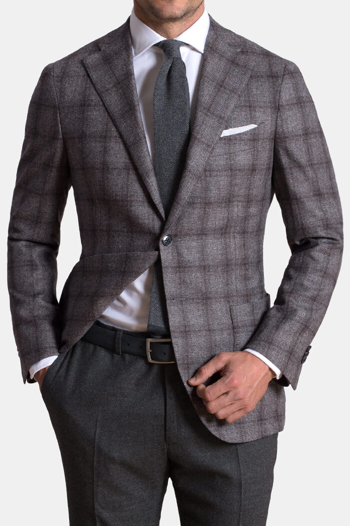 Hudson Grey Plaid Wool and Cashmere Flannel Jacket