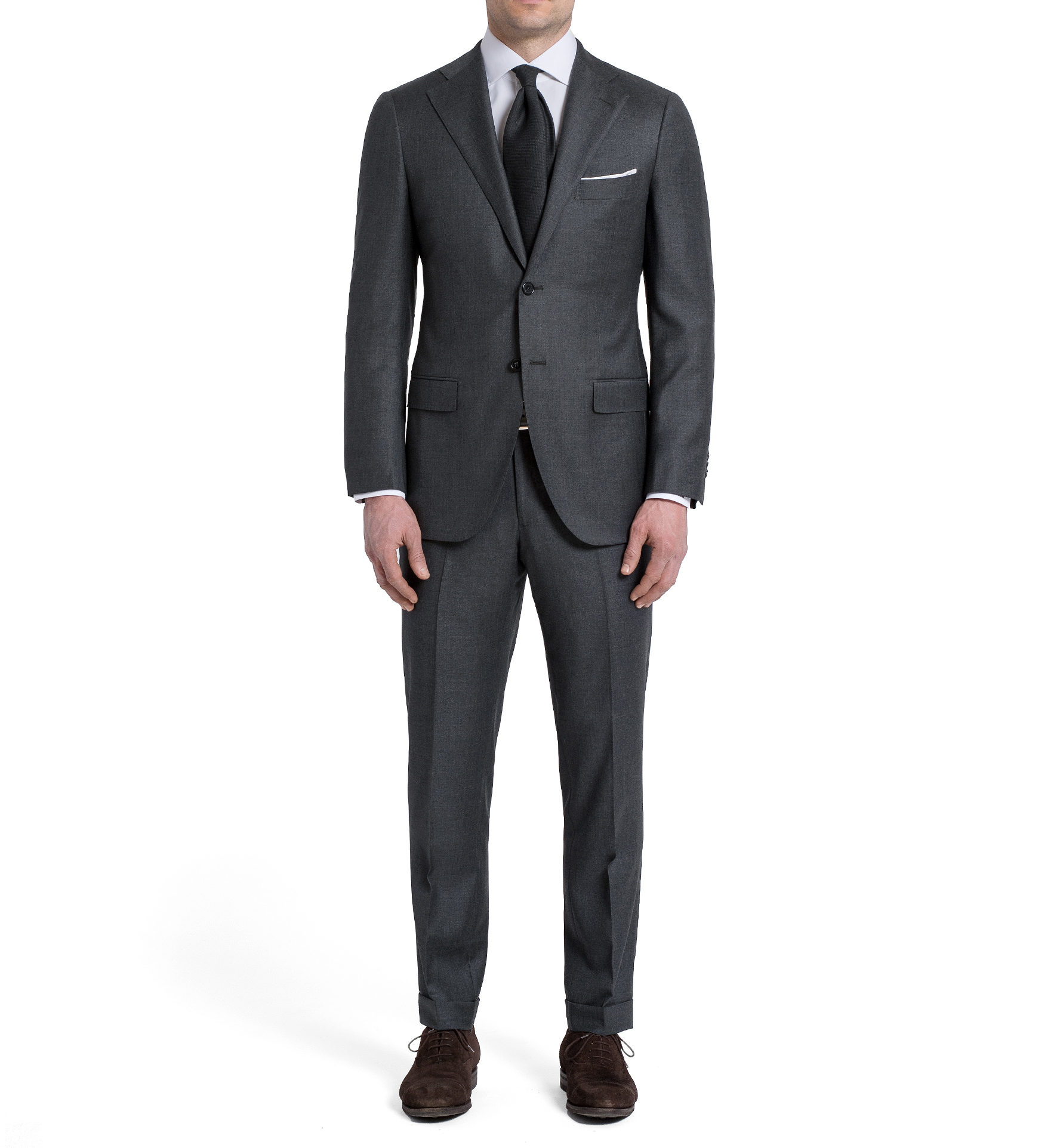 Zoom Image of Allen Grey S110s Wool Suit with Cuffed Trouser
