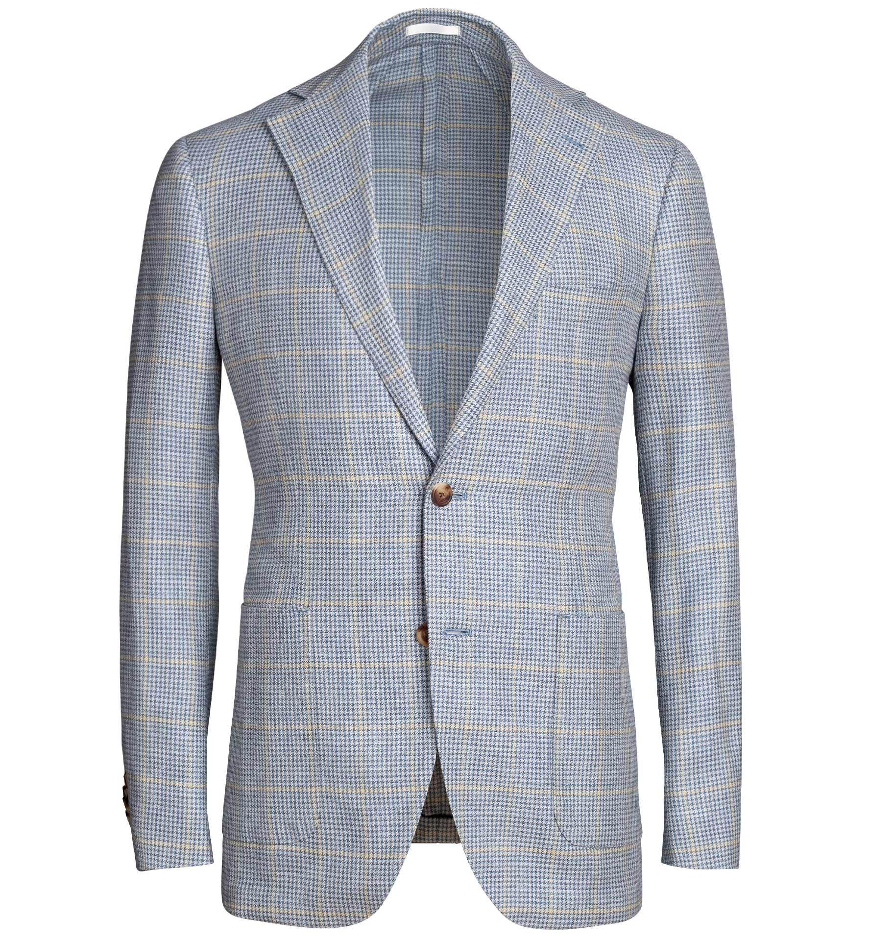 Zoom Image of Bedford Light Blue Houndstooth Plaid Summer Blend Jacket
