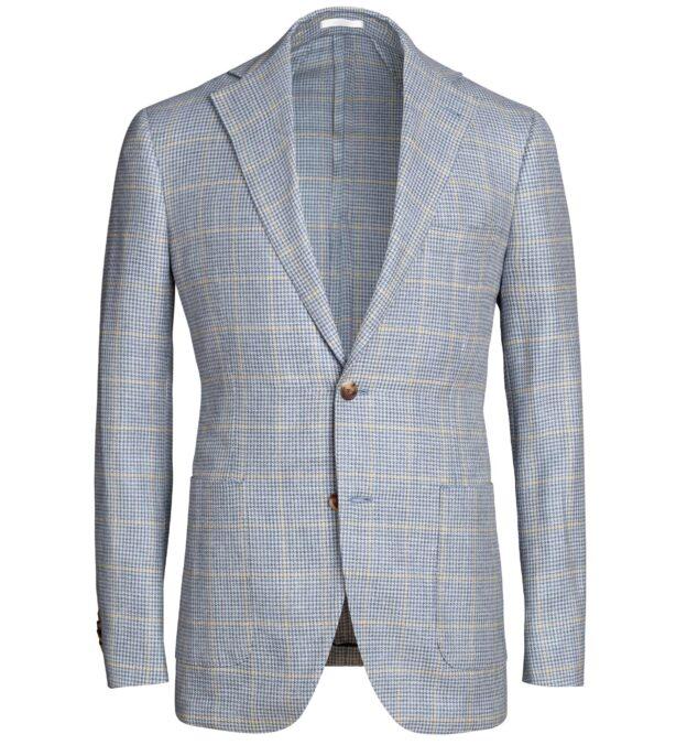 Bedford Light Blue Houndstooth Plaid Summer Blend Jacket