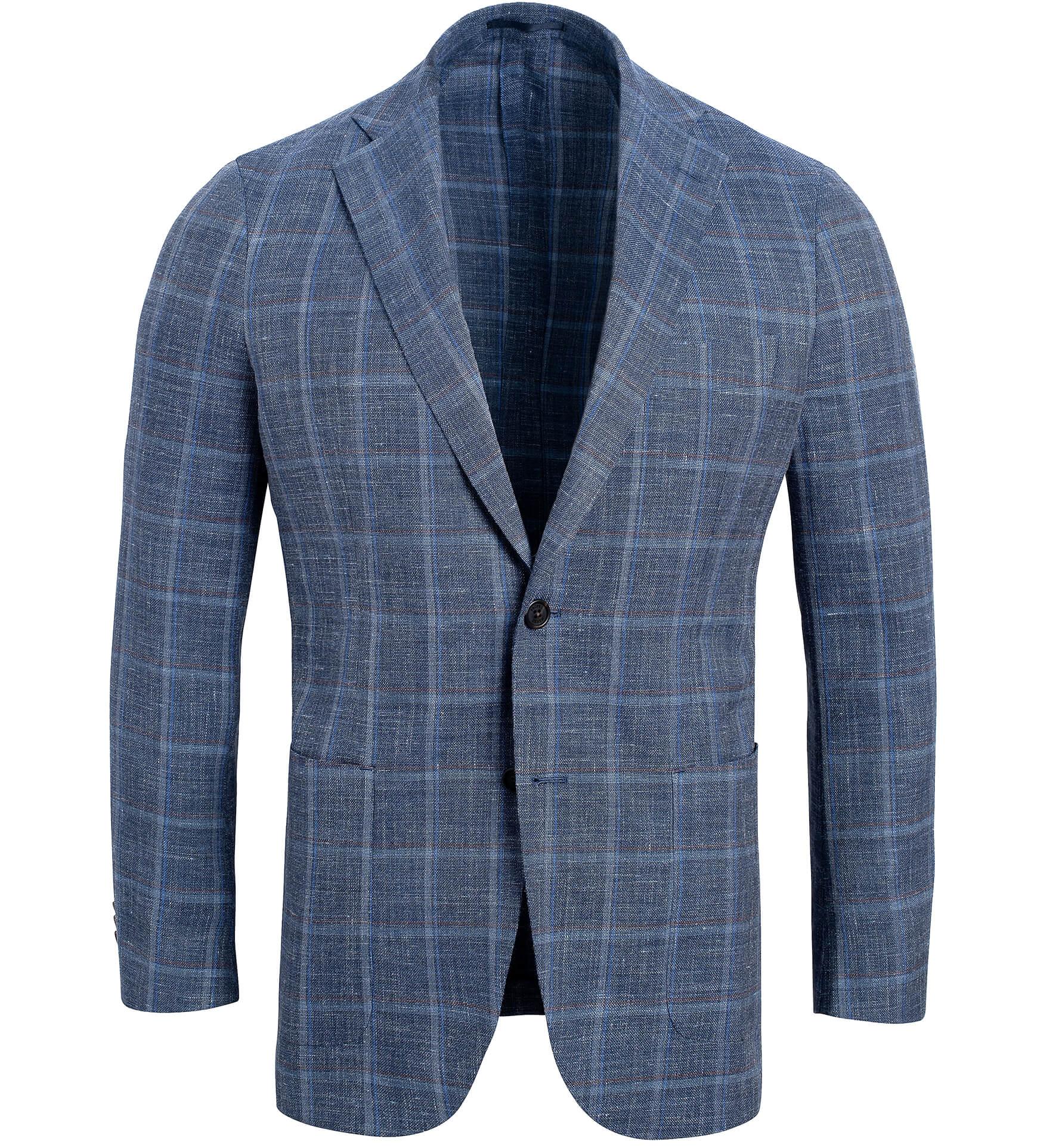 Zoom Image of Bedford Faded Blue Melange Windowpane Summer Blend Jacket