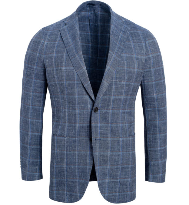 Bedford Faded Blue Melange Windowpane Summer Blend Jacket