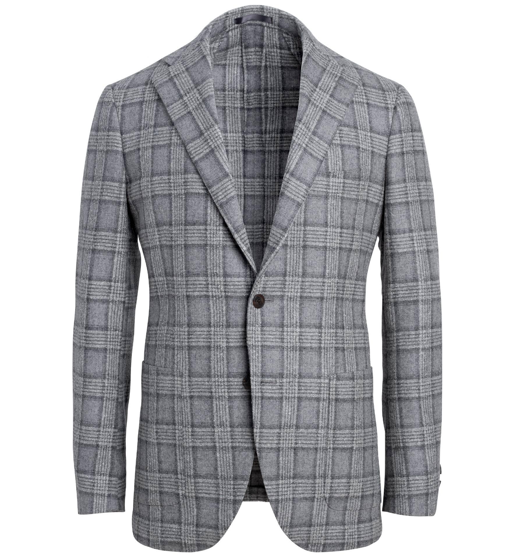 Zoom Image of Bedford Light Grey Plaid Wool Blend Jacket