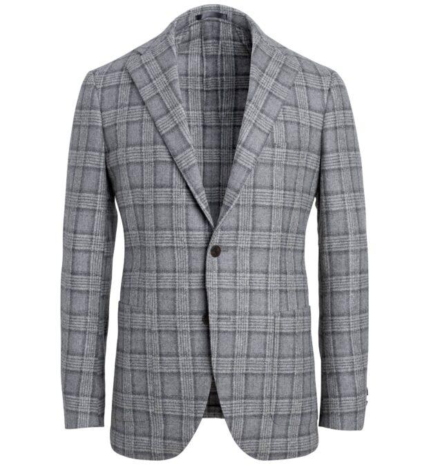 Bedford Light Grey Plaid Wool Blend Jacket