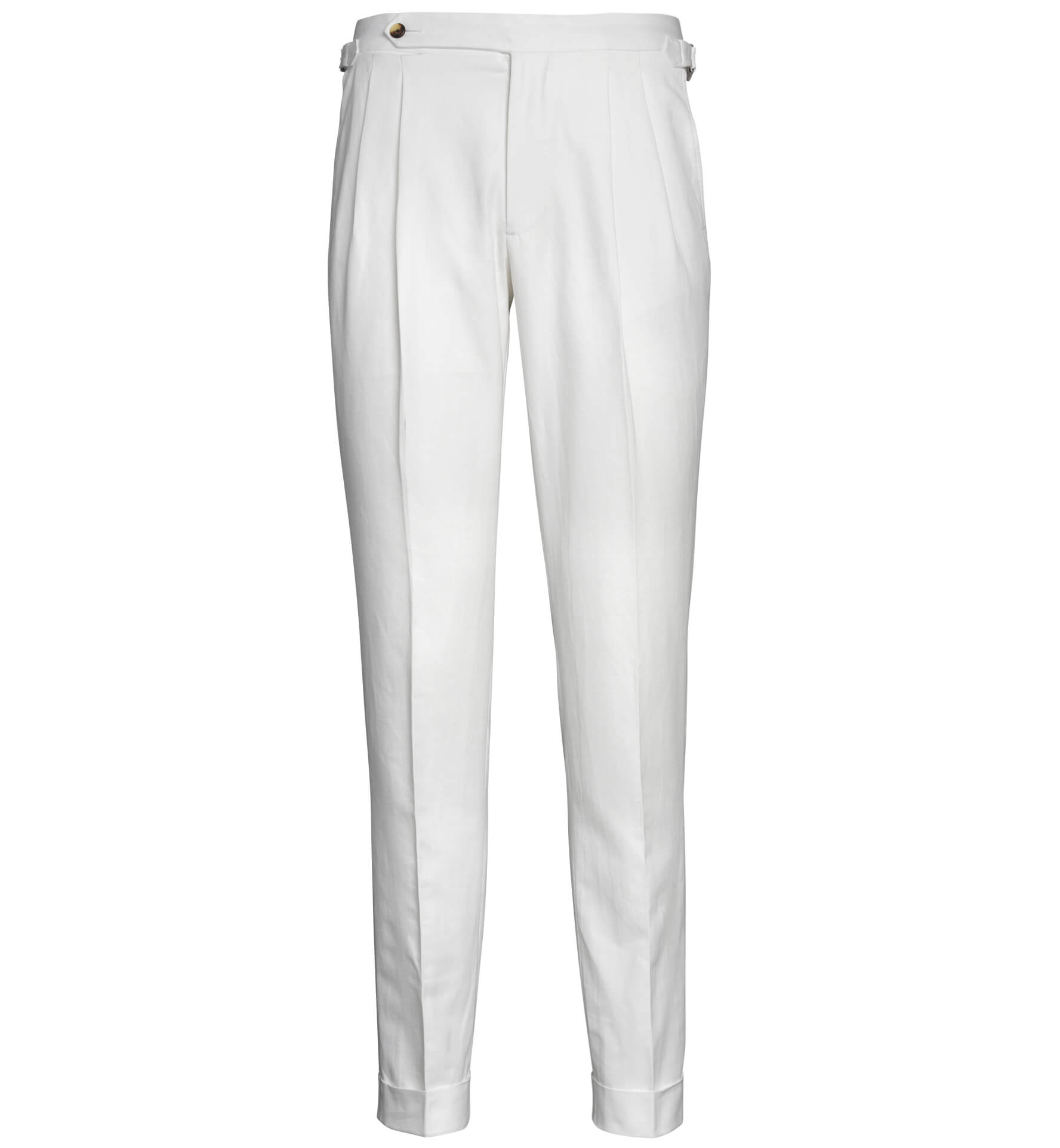 Zoom Image of Allen White Cotton and Linen Canvas Pleated Trouser