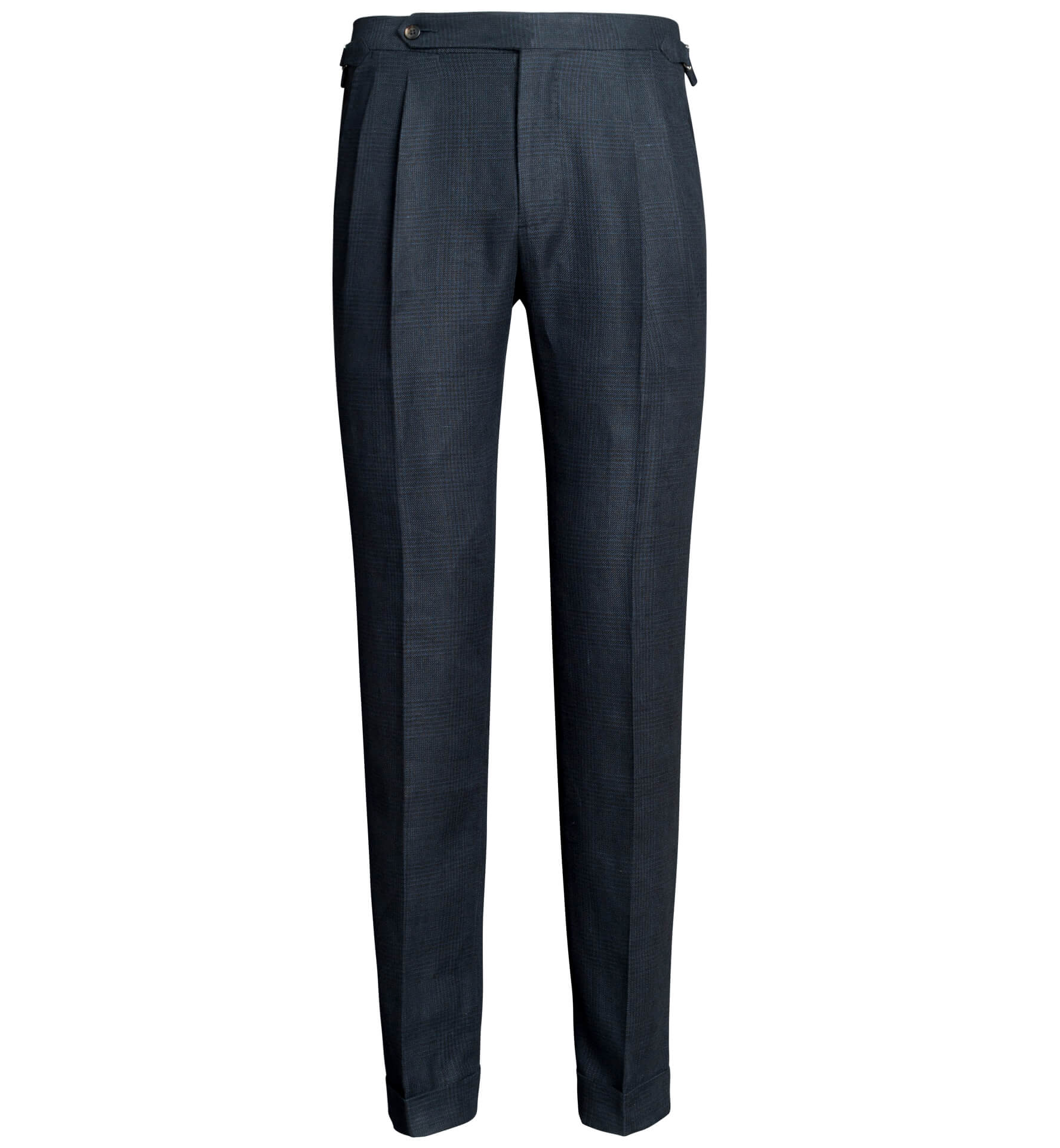 Zoom Image of Allen Navy Glen Plaid Irish Linen Pleated Trouser
