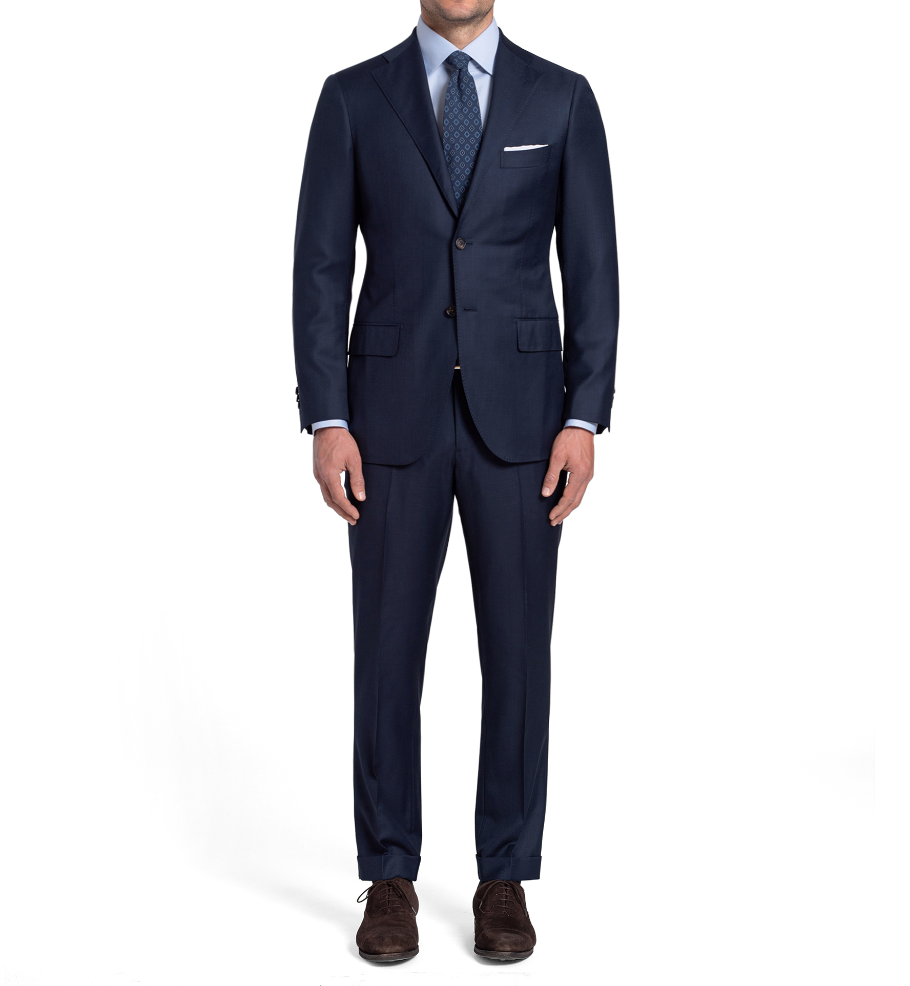Zoom Image of Allen Navy S130s Sharkskin Suit with Cuffed Trouser