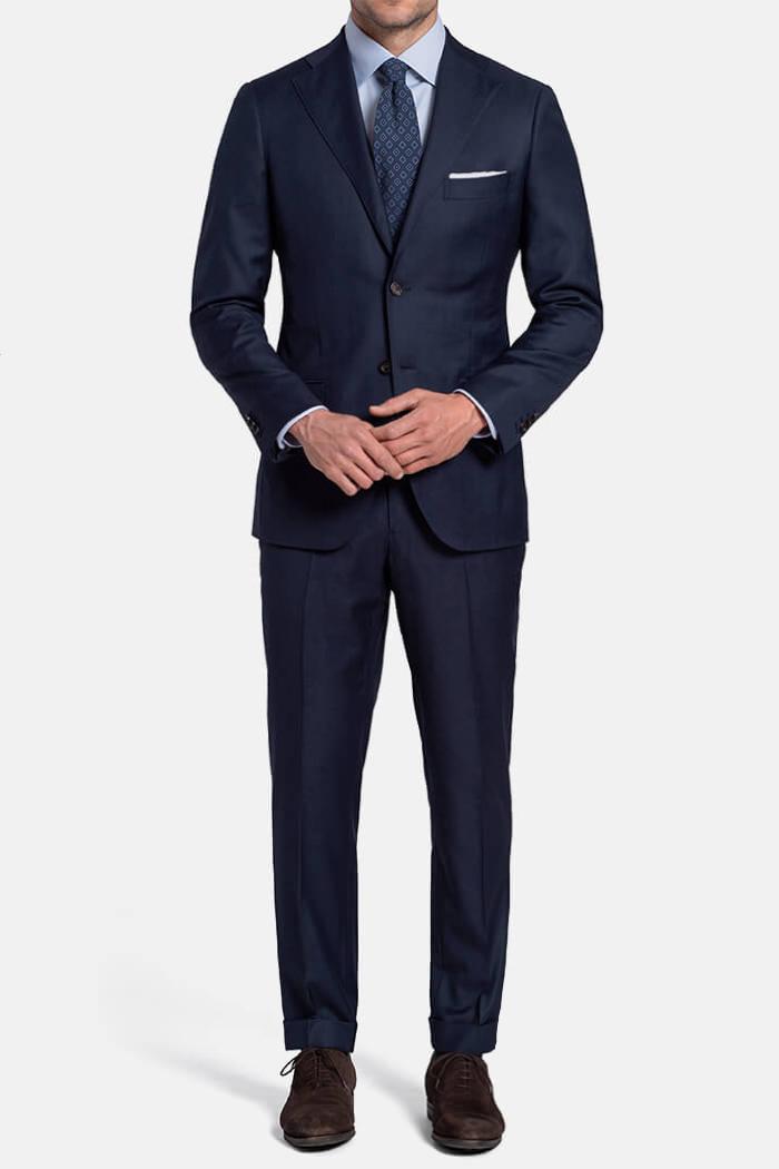 Allen Navy S130s Sharkskin Suit
